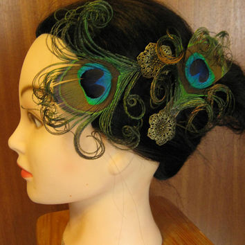 2x PEACOCK feather FASCINATOR hair clip by MagicTribalHair