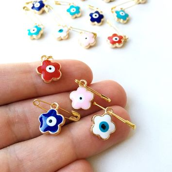 5 pcs Evil eye safety pin, four leaf clover evil eye safety pin, baby shower gift