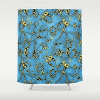 Blue Turquoise Shower Curtain by Oksana Smith