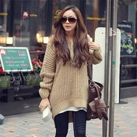 Women's fashion korean style newest Solid Color V neck Long Sleeve Loose Hooded pullover Sweater outwear = 1946007492
