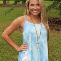 Bangles Boutique — OCEAN BLUE TIE DYE SPAGHETTI STRAP TOP WITH A LITTLE BIT OF LACE