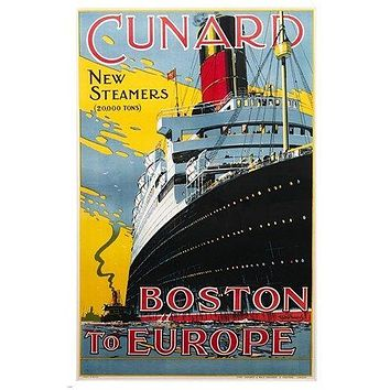 cunard NEW STEAMSHIPS vintage travel poster BOSTON TO EUROPE historic 24X36