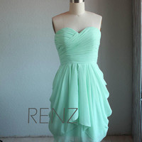 MINT Wedding dress , chiffon party dress, mint blue bridesmaid dress, strapless formal dress RENZRAGS (B062)