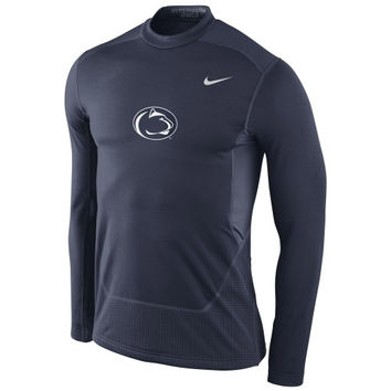Penn State Nittany Lions Nike Pro Combat Hyperwarm Max Shield Performance Crew – Navy Blue