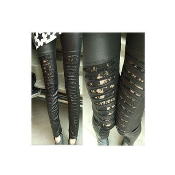 Punk hallout out leather leggings brand new lace pant
