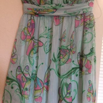 Large Dress Double Zero  Strapless Green Multicolor Prints Butterfly Festive