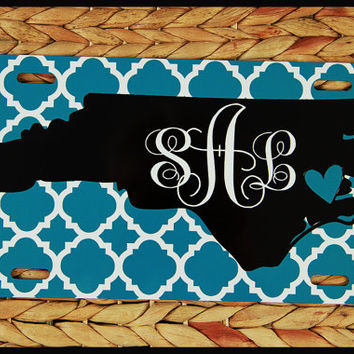 License Plate Car Tag North Carolina State Personalized Monogrammed Car Tag Car Accessories Chevron License Plates New Car Sweet 16