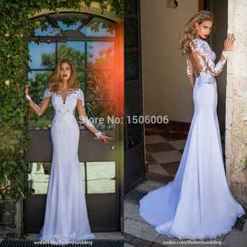 New arrival 2016 Sheer Full Sleeves White Mermaid Sexy Wedding Gowns V-Neck Sheer Back Exquisite Design Wedding Dresses PS57
