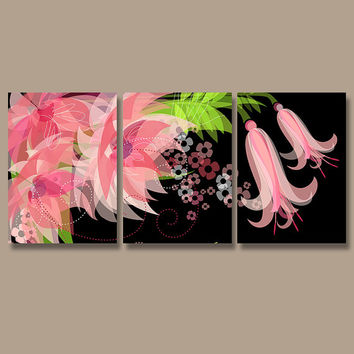 Wall Art Canvas Watercolor Artwork Pottery Flourish Flower Floral Design Black Pink Lime Nursery Set of 3 Prints Bedroom Bathroom Three