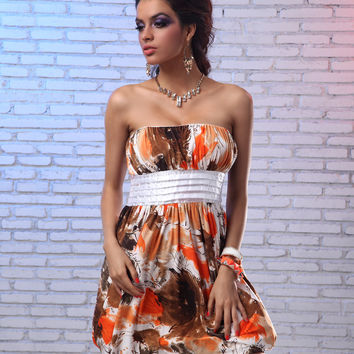Abstract Printed Strapless Mini Dress