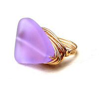 Radiant Orchid Ring: Lavender Sea Glass Triangle Triangular Arrow Geometric 24K Gold Wire Wrapped Purple Beach Jewelry, Size 6