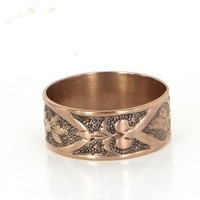Antique Victorian 14 Karat Rose Gold Embossed Heart Band Ring Vintage Fine Jewelry