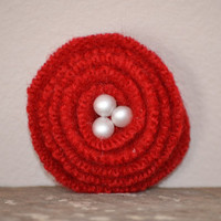 Red Flower Felted PIn