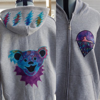 Upcycled Zip Up Hoodie Gray Grateful Dead Bear OOAK Womens Size XXL Recycled hoodie, OOAK hoodie,hippie clothes, full zip hoodie