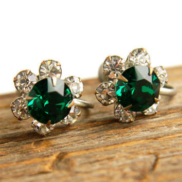 Vintage Emerald Glass & Rhinestone Clip On Earrings - Silver Tone Screw Back Costume Jewelry / Faux Diamond and Emerald