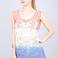Beverly Ombre Crochet Tank Top in Navy
