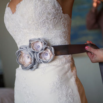 Bridal Gown Dress Sash. Bridal Accessory. Silver Gray Fabric Flower Bridal Sash Belt. Silver Champagne Flower Wedding Dress Sash Belt.