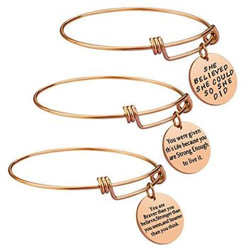 AUGUAU Birthday Gifts for Women Girls - 3PCS Stainless Steel Inspirational Charm Bracelets Jewelry Set Motivational Expendable Bangles Anniversary Gift Ideas