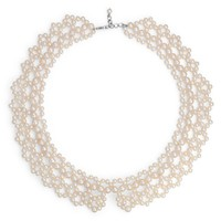 Freshwater Cultured Pearl Lace Collar Necklace with Sterling Silver