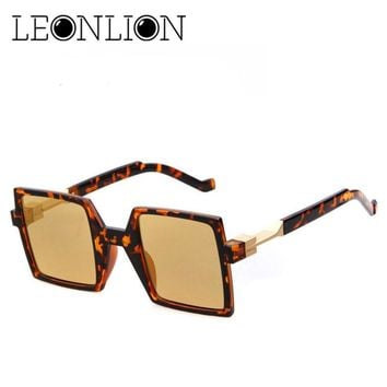 LeonLion 2018 Frame Square Sunglasses Men Designer Sun Glasses Women Fashion Vintage UV400 Classic Retro Oculos De Sol Gafas