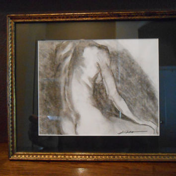 Modern Original Signed Charcoal Drawing Study of a Woman's Back Very Nicely Framed
