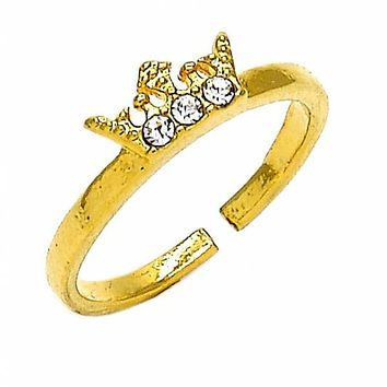 Gold Layered Toe Ring, Crown Design, with Crystal, Golden Tone