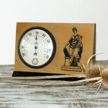 Vintage thermometer,Russian desk thermometer,home decor,soviet vintage,Wooden Thermometer,Gifts for men,Soviet Era,retro,ussr,collectibles,
