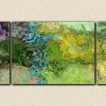 "Abstract art triptych gallery wrap giclee large canvas print in green and blue, ""Southern Spring"", 30x60 to 40x78"