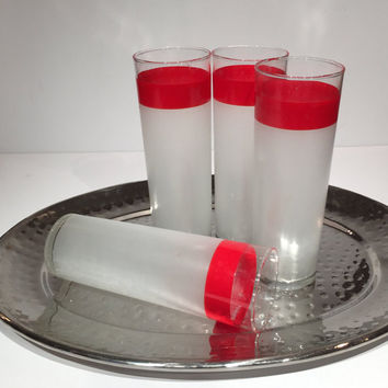 Red Stripe Frosted Highball Glasses, Frosted Glass Tumblers