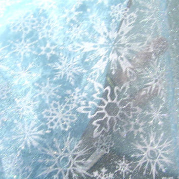 New Frozen Fabric Queen Elsa Borealis Blue Snowflake Organza Disney Silver Snow White Sparkle Snowflakes Cape and Costume Blue By The Yard