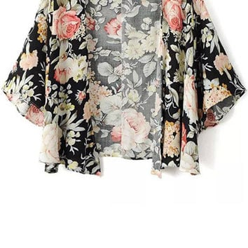 Floral Pattern Half Sleeve Blouse