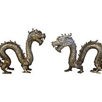 Metal Asian Dragons, Pair