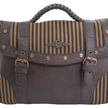 Banned Vintage Steampunk Brown Black Stripes Wild West Steampunk Handbag