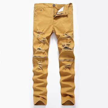 New Men`s Hip Hop Jeans With Knee Zippers Stretchy High Street Style Hipster Distressed Ripped Jeans For Men