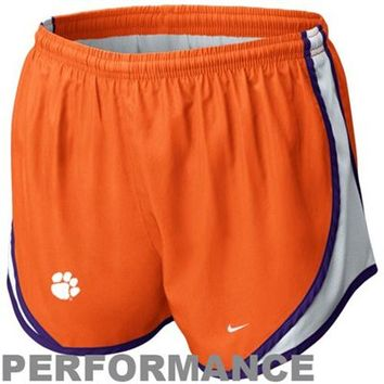 Nike Clemson Tigers Youth Girls Tempo Performance Shorts - Orange