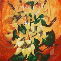 View: Still life 43 Sunflovers painting flowers orange palette knife decor original artwork floral art 50x100x2 cm acrylic on stretched canvas wall art by artist Ksavera | Artfinder