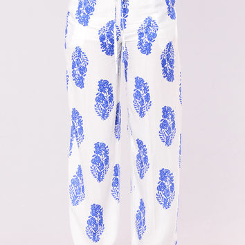 Abriana Pants - White/Royal