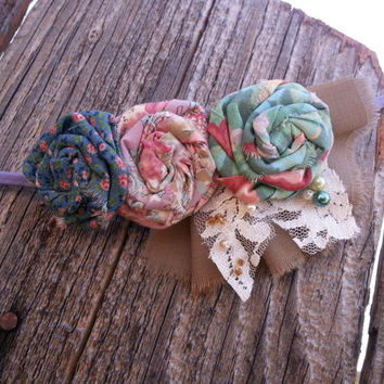 Shabby Vintage Headband in Blue Green and Pink