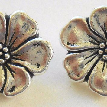 Two Tierracast 15mm  Apple Blossom Antique Silver, Floral Buttons, C7602