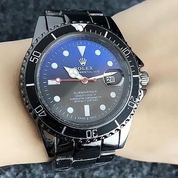 Rolex Fashion Women Men Casual Business Movement Watch Lovers Wristwatch Blue/Black Dial I13212-1