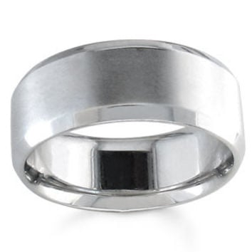 Men's Wedding band 14k White Gold 8mm width with bevel edges