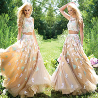 abendkleider 2017 new style gorgeous multicolored two-piece prom dresses features floral lace appliques prom gown