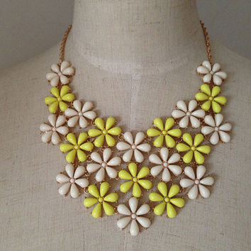 Bib Statement Necklace, Yellow and White Flower Necklace, Bridesmaid Necklace Gift