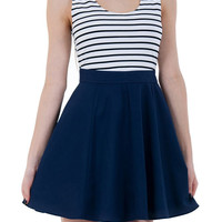 Swing Into Summer Sleeveless Dress/Skater Skirt-Navy Blue