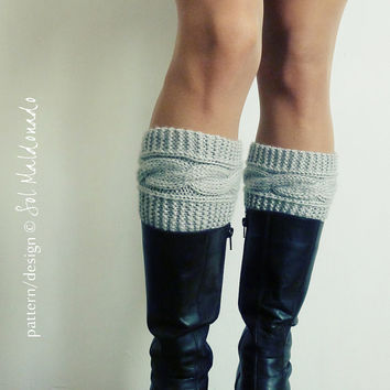 Boot topper pattern Boho Knits - Boot Cuffs, leg warmers PDF Knitting Pattern - cable fall knits accessories - Instant DOWNLOAD