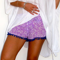 Pom Pom Shorts, Lilac & White Flower Print with Cobalt Cotton Pom Pom's - 70's inspired gym shorts