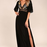 Puerto Vallarta Black Embroidered Maxi Dress