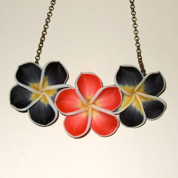 Flower Necklace Polymer Clay Black Red Hibiscus by flonightingales
