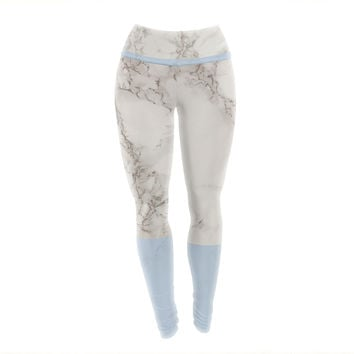 "Suzanne Carter ""Marble And Blue Block"" Modern Gray Yoga Leggings"