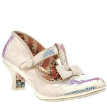 womens irregular choice white lazy river iridescent low heels